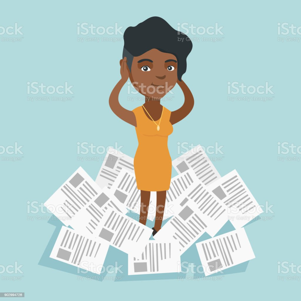 Stressed woman standing in the heap of papers vector art illustration