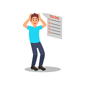 Stressed young guy with a lot of work. Long to do list. Exhausted man holding hands on his head. Cartoon male character. Colorful vector illustration in flat style isolated on white background.