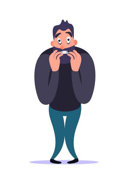 stockillustraties, clipart, cartoons en iconen met stressvolle nerveus bebaarde cartoon man bijt nagel met angst en bezorgdheid, demonstreert zijn angststoornis. geestelijke ziek concept. mannelijke karakter spanning en bang. psychologie problemen. - paranoïde