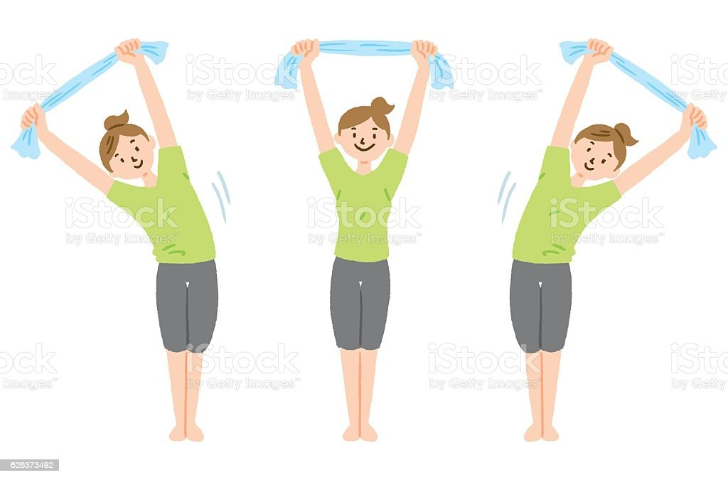 Stretch with towel vector art illustration