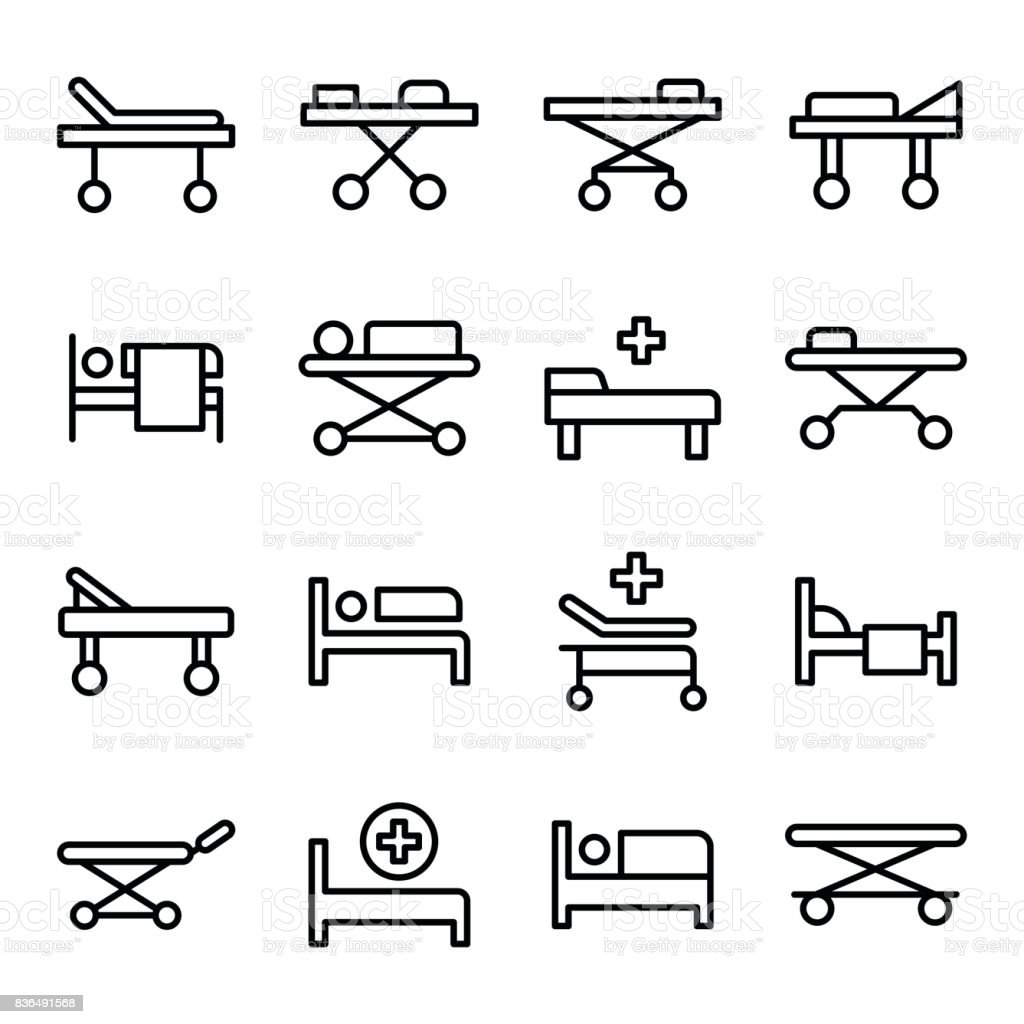 Stretcher Line Vector Icons Set vector art illustration