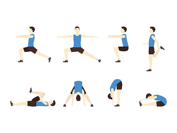 stockillustraties, clipart, cartoons en iconen met stretching exercise set with man flat. vector - rek