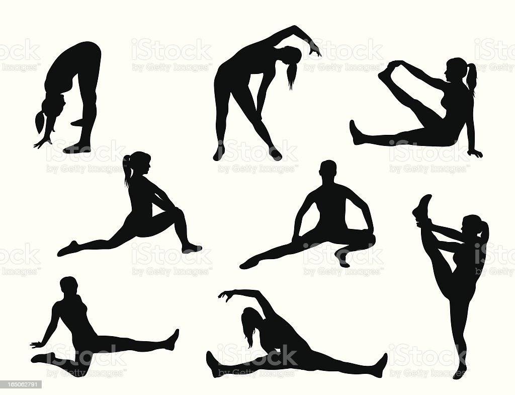 Stretching Vector Silhouette royalty-free stock vector art