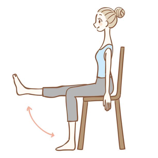 椅子に座りながらストレッチ - 椅子 家具点のイラスト素材/クリップアート素材/マンガ素材/アイコン素材