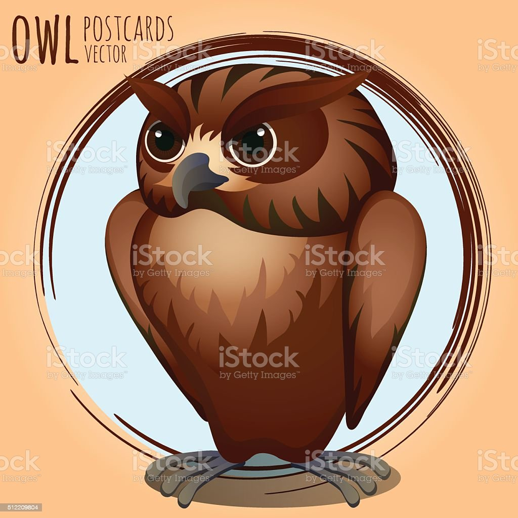 Strict brown owl, cartoon series vector art illustration