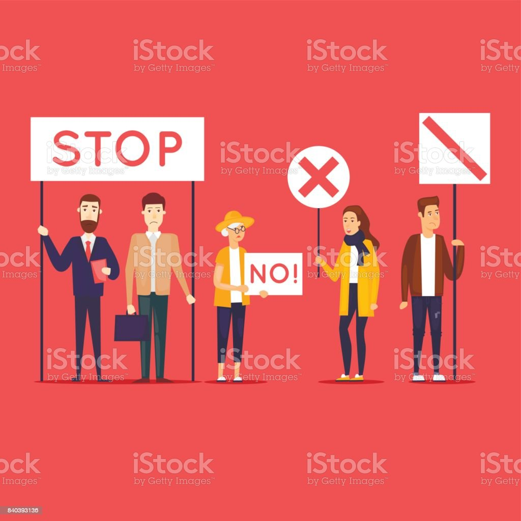 Strike, protest, riot, rally. Flat design vector illustration. vector art illustration