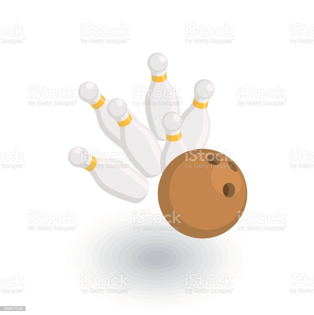 strike shot, spare, bowling ball isometric flat icon. 3d vector vector art illustration