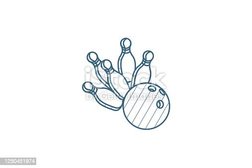 strike shot, spare, bowling ball isometric icon. 3d vector illustration. Isolated line art technical drawing. Editable stroke