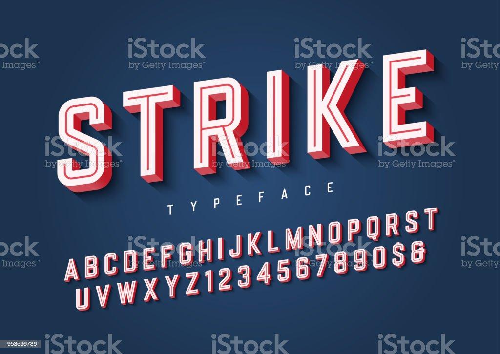 Strike trendy inline sports display font design, alphabet, typef