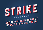 Strike trendy inline sports display font design, alphabet, typef
