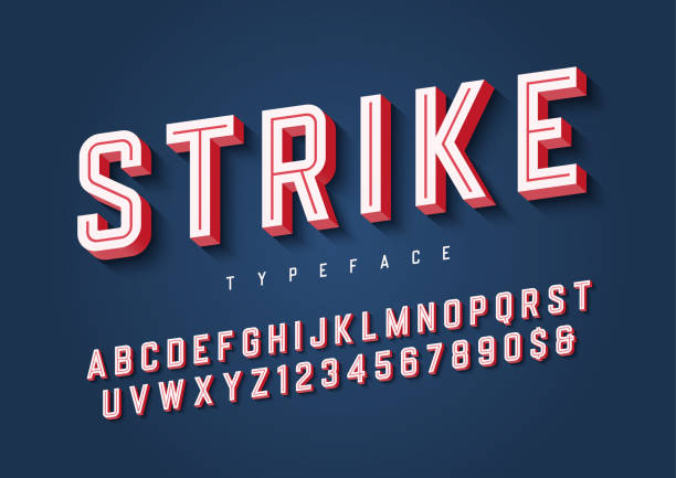 strike trendy inline sports display font design, alphabet, typef - fonts and typography stock illustrations, clip art, cartoons, & icons