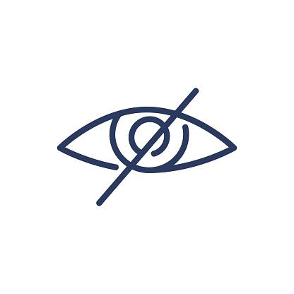 Strikeout eye thin line icon