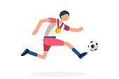 Male person celebrate xxxii summer games athletics medal. Sportive people celebrating football team. Footballer athlete symbol on victory celebration. Sport cartoon symbolic flat vector illustration.