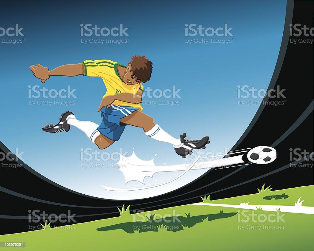 Atacante Jogador de futebol foto no gol - ilustração de arte em vetor