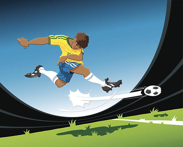Striker Soccer Player Shot at Goal Hand-drawn vector illustration of a striker, who is shooting the ball at the goal. The illustration is on separate layers, so you also can use the soccer player on your own background. The colors in the .eps-file are ready for print (CMYK). Included files: EPS (v8) and Hi-Res JPG. sport stock illustrations