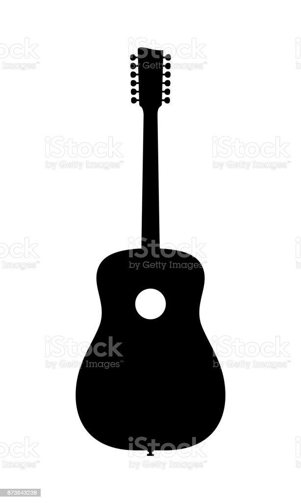 Ilustración de Silueta De Guitarra Acústica De 12 Cuerdas y más ...