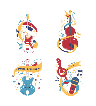 String and bowed musical instruments illustrations set