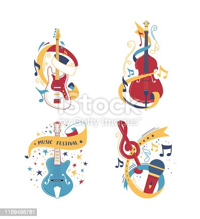 String and bowed musical instruments illustrations set. Electric and acoustic guitars. Classical violoncello, violin isolated clipart. Microphone with notes design element. Jazz band equipment