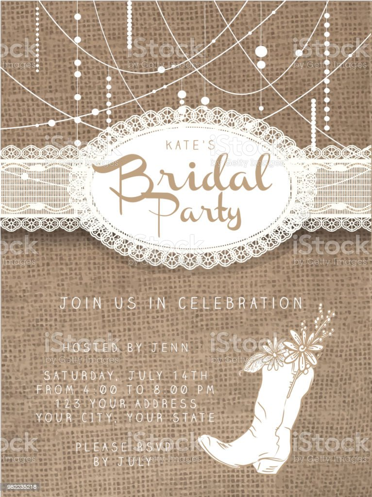 String beads design invitation template with rustic burlap background vector art illustration
