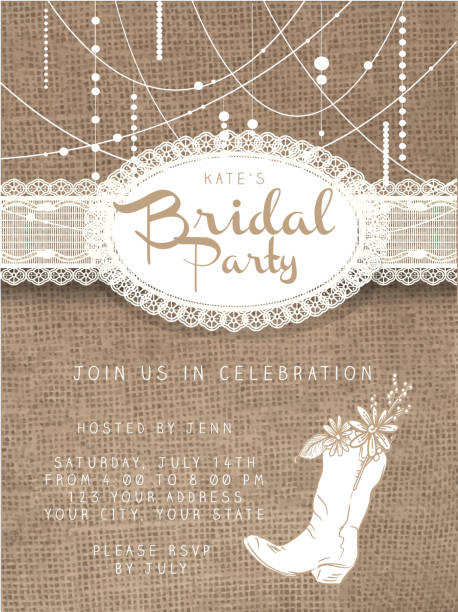 string beads design invitation template with rustic burlap background - wedding stock illustrations, clip art, cartoons, & icons