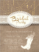 Vector illustration of a  String beads design invitation template with rustic burlap background. Includes elegant white cowboy boot with flowers and branches. Easy to edit with layers. Placement sample text included.