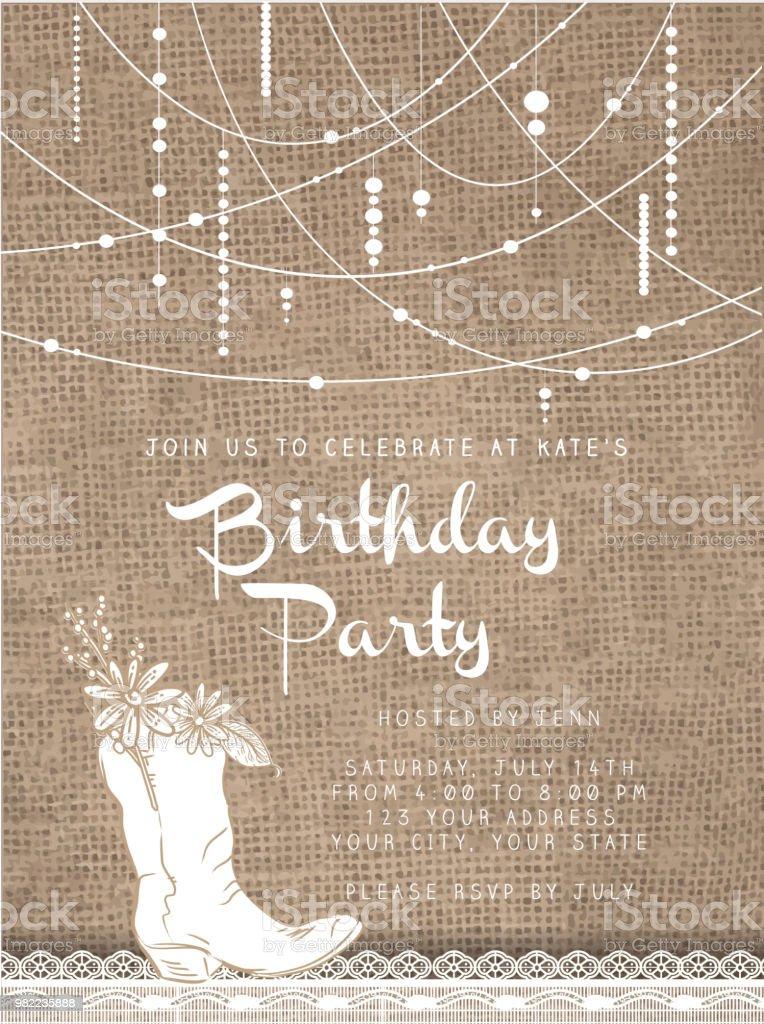 黄麻布の素朴な背景を持つ文字列ビーズ デザインの招待状のテンプレート