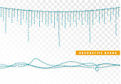 String beads realistic isolated. Decorative design element blue bead,
