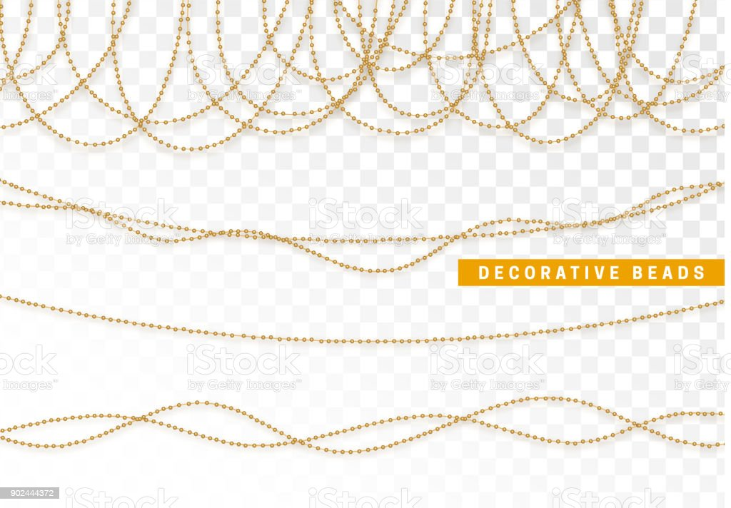 String beads realistic isolated. Decorative design element golden bead vector art illustration