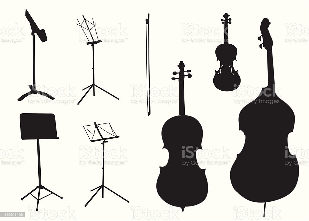 String Instruments, Music Stands Vector Silhouette royalty-free stock vector art