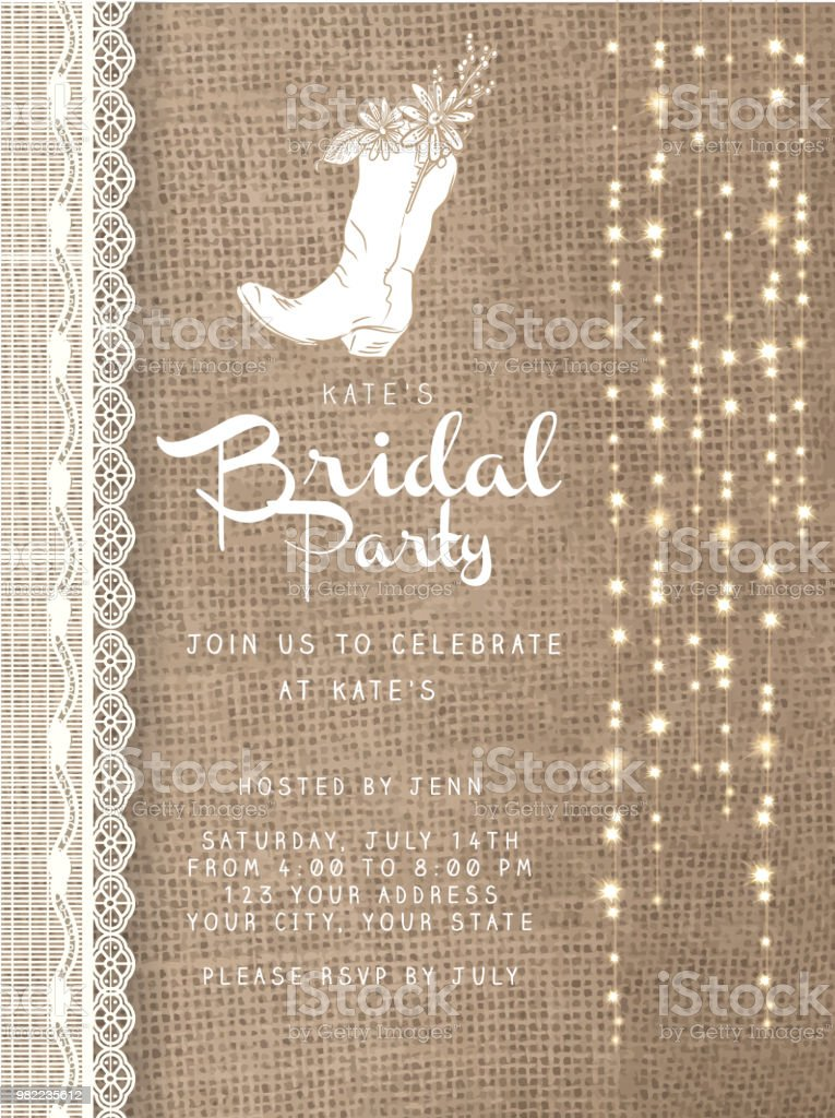 string lights design invitation template with rustic burlap