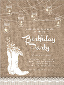 String lights design invitation template with rustic burlap background