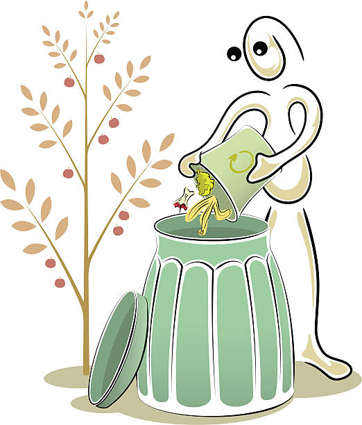 illustrazioni stock, clip art, cartoni animati e icone di tendenza di stringa uomo serie: compostaggio. - composting
