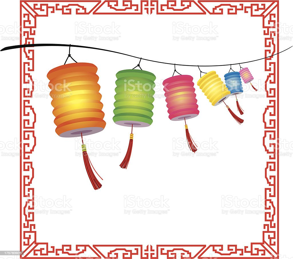 String of bright hanging Chinese lanterns decorations vector art illustration