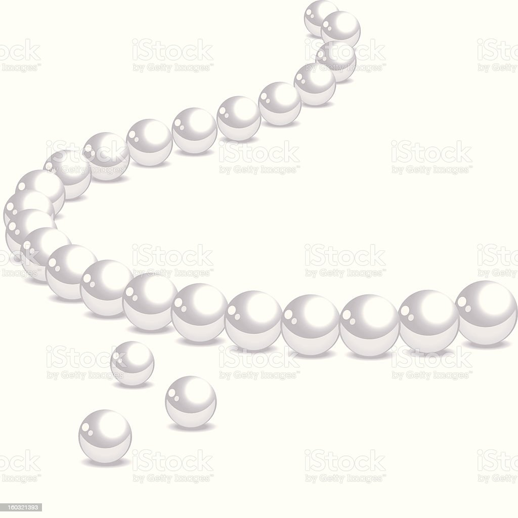 String of pink pearls with three lose ones in front vector art illustration