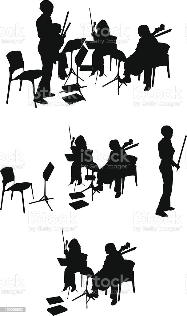String Quartet Silhouette (Vector Drawing) royalty-free stock vector art