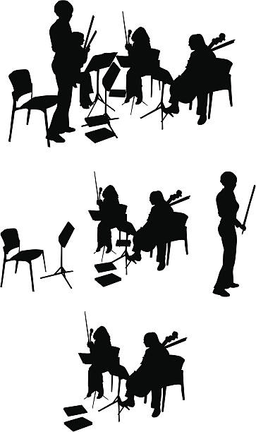 String Quartet Silhouette (Vector Drawing) vector art illustration