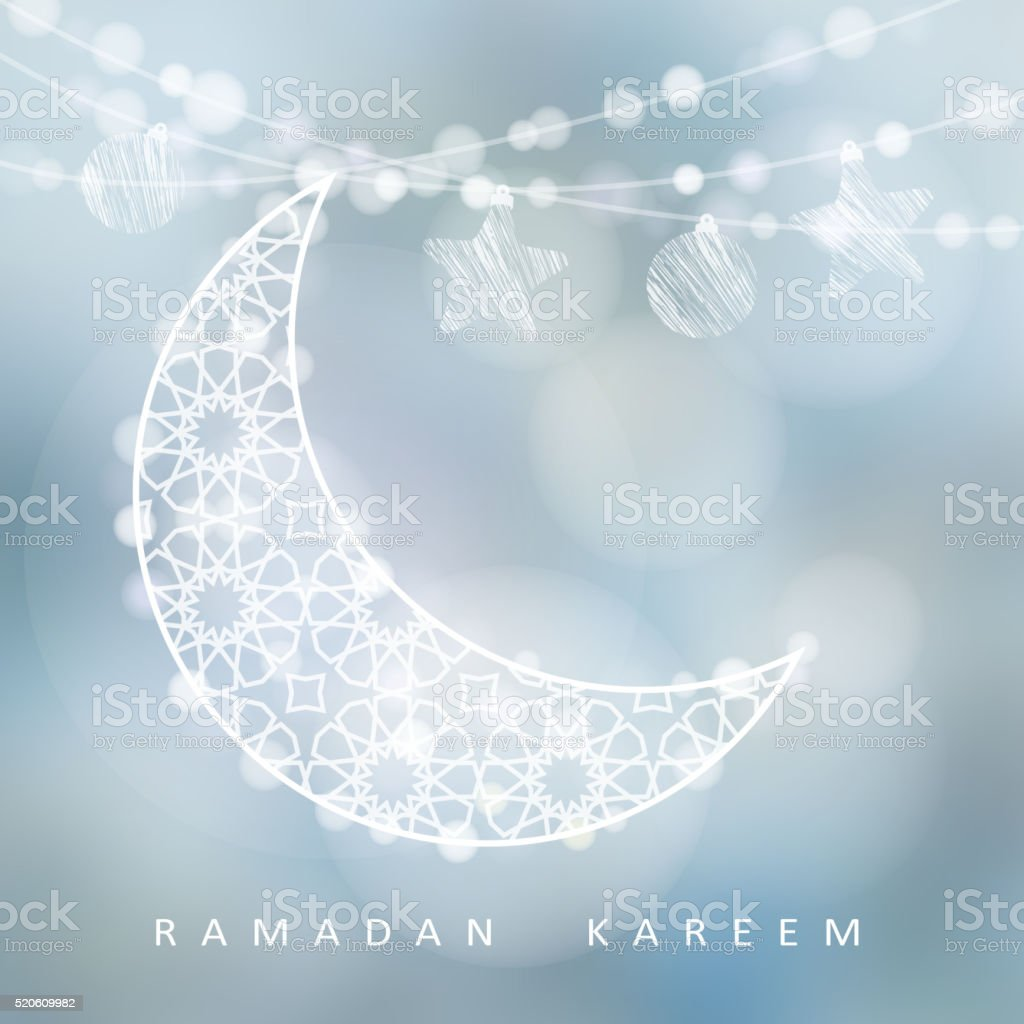 String with ornamental moon, stars, balls, bokeh lights, Ramadan card vector art illustration