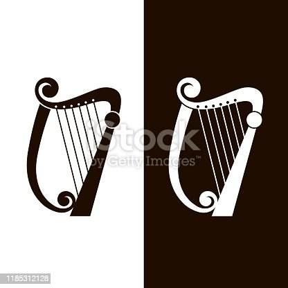 stringed harp icons set isolated on white and black background