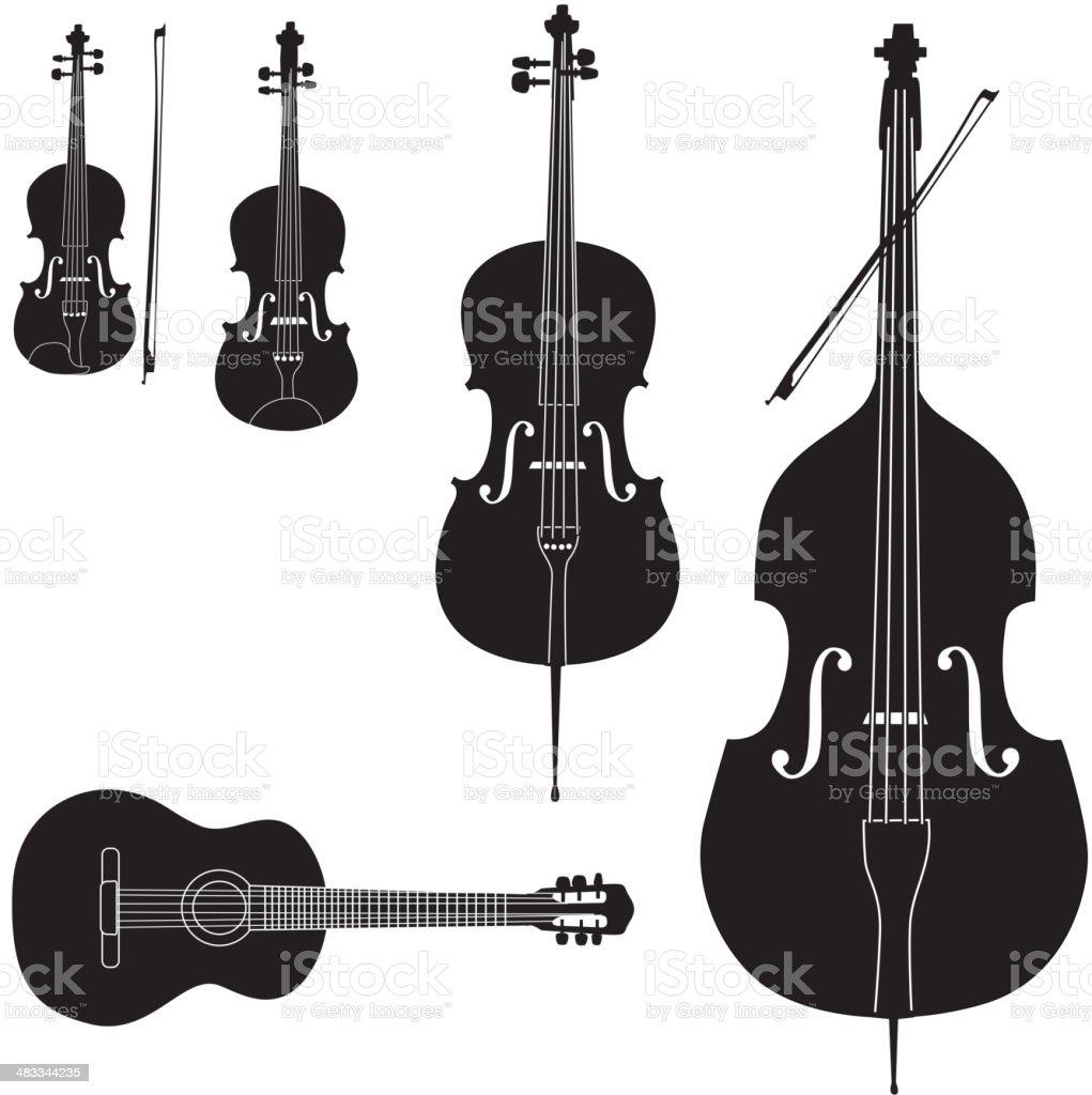 Stringed музыкальных инструментов Иконки КОЛЛЕКЦИЯ векторная иллюстрация