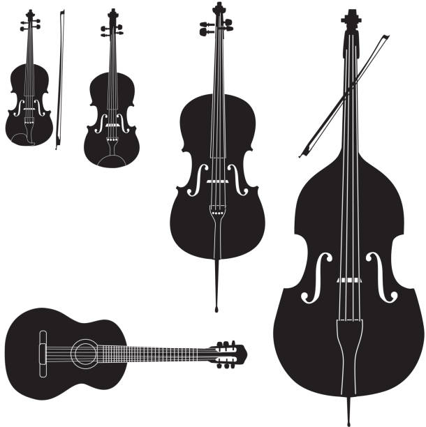 stockillustraties, clipart, cartoons en iconen met stringed music instrument icons collection - viool