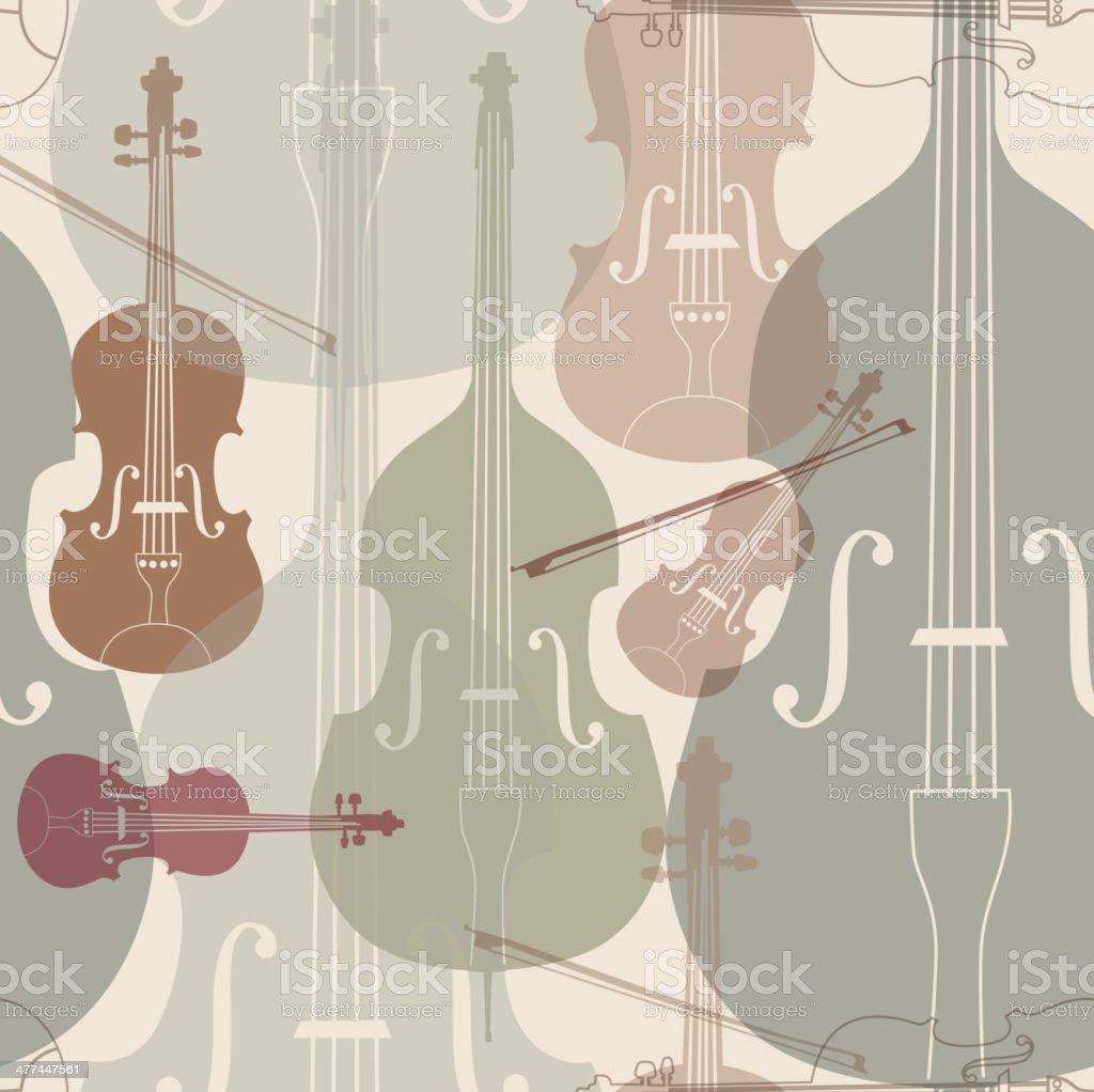 楽器 Tileable の壁紙にストリング イラストレーションのベクター