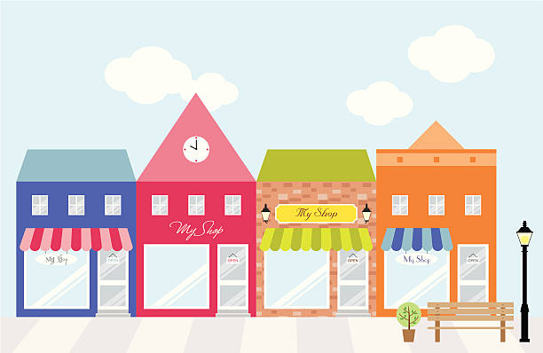 strip mall shopping center - small business stock illustrations