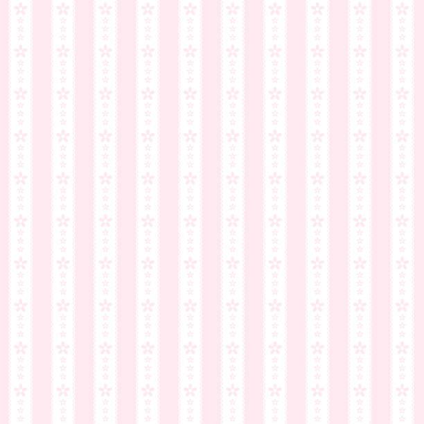 Stripe and flower seamless pattern vector art illustration