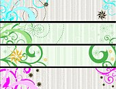 Vector web banners with stripes and flowers