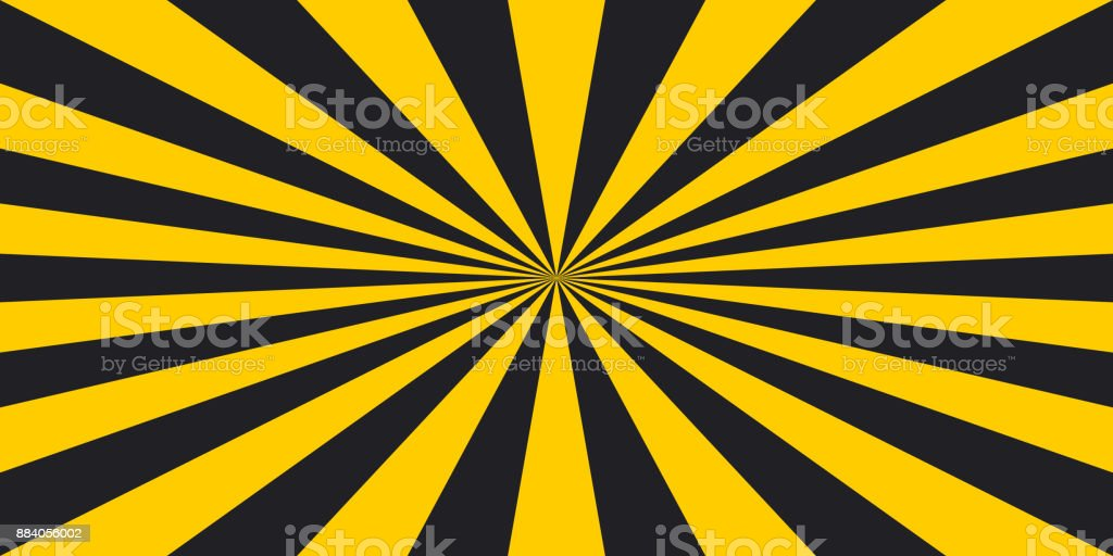 stripe rays safety warning dangerous pop art style background, vector sign yellow and black rays, glow, Hazard symbol stripe rays safety warning background vector art illustration
