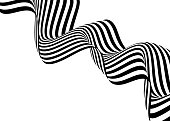 Stripe wave background design with black and white lines. 3d optical op art. Vector illustration.