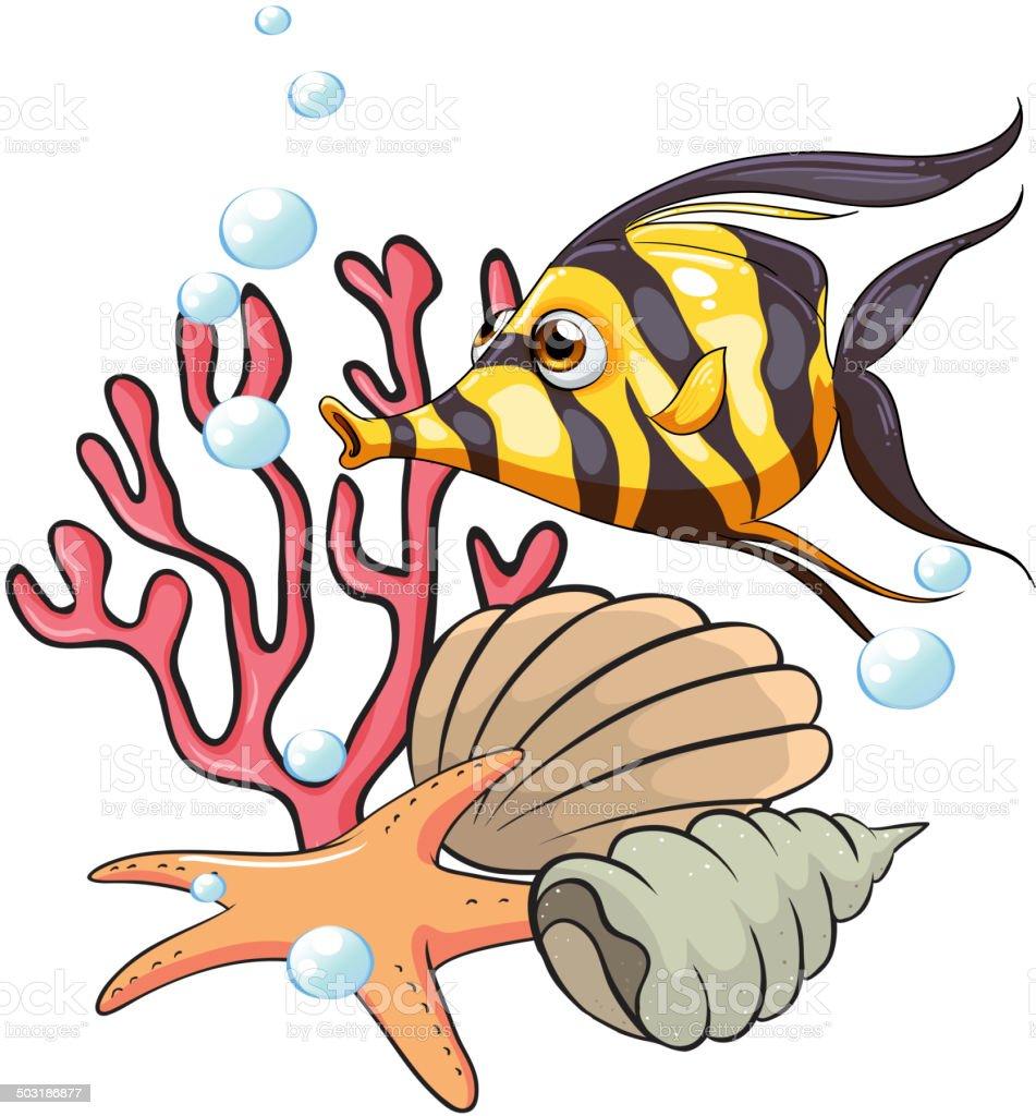 Stripe-colored fish under the sea vector art illustration