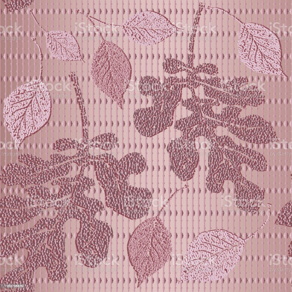 Striped 3d Textured Seamless Pattern Vector Rose Gold Leafy