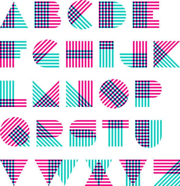 Striped alphabet vector art illustration
