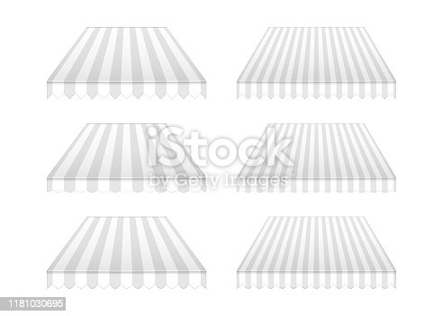 Striped awning set, realistic vector mockup illustration. Outdoor canopy with wavy and triangular edges, mock-up. Tent roof for building facade, template for design.
